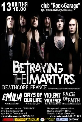 13.04: Betraying the Martyrs (deathcore,FR) + support